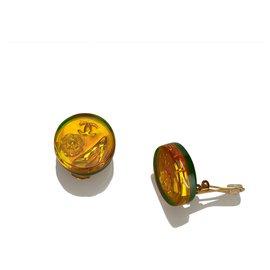 Chanel-Chanel Orange Camellia and CC Earrings-Multiple colors,Orange