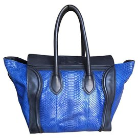 Céline-Superb and rare Céline Luggage bag in blue Python-Blue