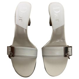 Christian Dior-Heeled mules-White