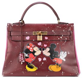 "Hermès-Hermès Kelly 32 en cuir box bordeaux customisé par PatBo sur le thème ""Minnie&Mickey in love"" !-Red"