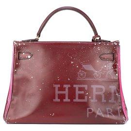 """Hermès-hermes kelly 32 en cuir box bordeaux customisé par PatBo sur le thème """"Minnie&Mickey in love"""" !-Rouge"""