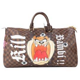 """Louis Vuitton-Sac de voyage Louis Vuitton Keepall 50 en toile à damier ébène customisé """"Taz&Bambi"""" par PatBo !-Marron"""