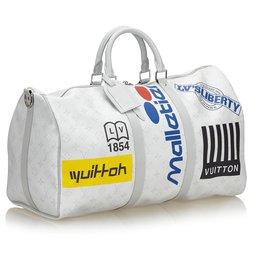 Louis Vuitton-Louis Vuitton White Monogram Antarctique Keepall Bandouliere Logo Histoire 50-Blanc,Multicolore