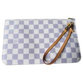 Louis Vuitton-Superbe pochette Neverfull damier Azur Louis Vuitton-Blanc,Bleu
