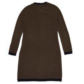 Chanel-2 TONES CASHMERE CARDIGAN FR38/40-Brown,Black