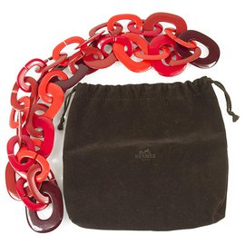 Hermès-Hermès rare Shades of Red Kali Buffalo Horn Necklace  excellent condition-Red