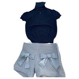 Autre Marque-Turtleneck Short Sleeve Shorts Set-Black,Beige