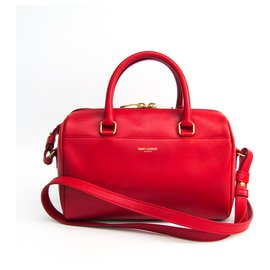 Yves Saint Laurent-YSL Red Leather Classic Baby Duffle-Red