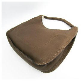 Fendi-Fendi Brown Selleria Leather Shoulder Bag-Brown