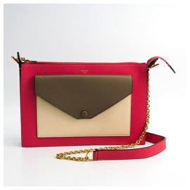 Céline-Celine Pink Leather Chain Shoulder Bag-Brown,Pink