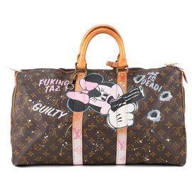 "Louis Vuitton-Sac de voyage Louis Vuitton Keepall 45 en toile Monogram customisé ""Fucking Taz"" par PatBo !-Marron"