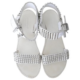 Zadig & Voltaire-studded white sandals-White