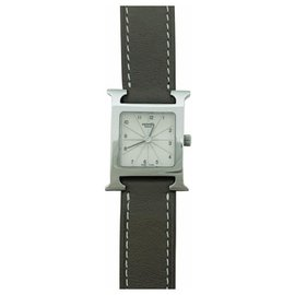 "Hermès-Hermès watch model ""Heure H"", steel on leather.-Other"