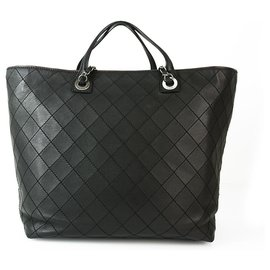Chanel-Chanel Extra Large Tote  Black Wild Stitch 2 Way Tote Bag Gunmetal CC Hardware-Black