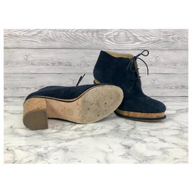 Chanel-Chanel suede ankle boots-Navy blue