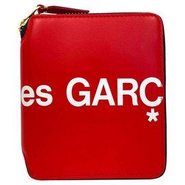Comme Des Garcons-Red zip around wallet-Red