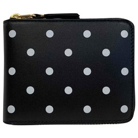Comme Des Garcons-Polka dots leather small wallet-Black