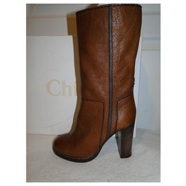 Chloé-CHLOE Bohemian chic high heel boots-Light brown
