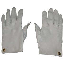 Chanel-Leather gloves from Pécari-White,Eggshell
