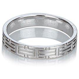 Hermès-Hermes Silver White Gold Kilim Ring-Silvery