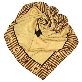 Fendi-Fendi Écharpe en soie imprimée doré-Multicolore,Doré