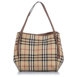Burberry-Burberry Brown Haymarket Coated Canvas Canterbury Tote Bag-Brown,Multiple colors,Beige