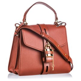 Chloé-Chloe Brown Medium Leather Aby-Brown