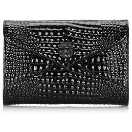 Yves Saint Laurent-YSL Black Embossed Patent Leather Clutch-Black