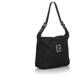 Fendi-Fendi Black Zucca Canvas Shoulder Bag-Black