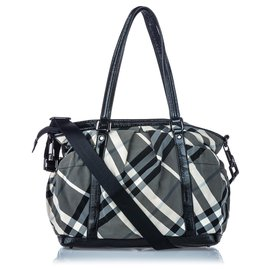 Burberry-Burberry Black Beat Check Nylon Satchel-Black,Grey