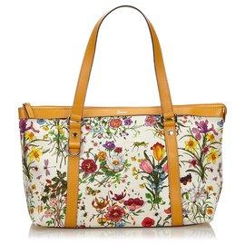 Gucci-Sac cabas à toile abbaye blanche Flora de Gucci-Blanc,Multicolore,Écru