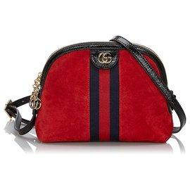 Gucci-Sac bandoulière Ophidia en daim rouge-Noir,Rouge