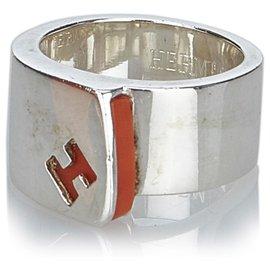 Hermès-Hermes Silver Silver Candy Bague-Argenté,Orange