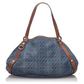 Gucci-Gucci Blue GG Denim Pelham Sac cabas-Marron,Bleu,Autre