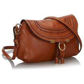 Chloé-Chloe Brown Small Leather Marcie Crossbody Bag-Brown