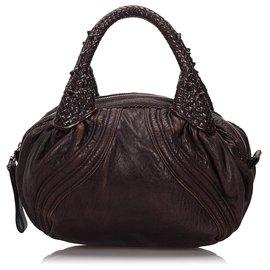 Fendi-Fendi Brown Leather Mini Spy-Brown,Dark brown