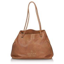 Gucci-Sac cabas en cuir Gifford de Gucci-Marron,Marron clair