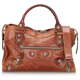Balenciaga-Balenciaga Brown Leather Motocross Giant City Satchel-Brown