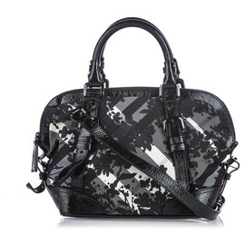 Burberry-Burberry Black Beat Check Printed Nylon Satchel-Black,Grey