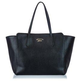 Gucci-Sac cabas pivotant en cuir noir Gucci-Noir