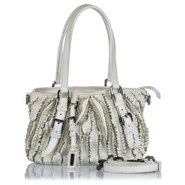 Burberry-Burberry White Leather Lowry Ruffled Satchel-White