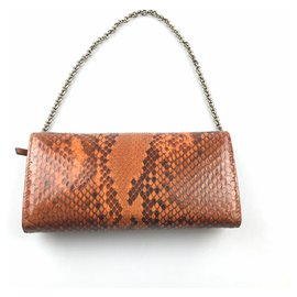 Gucci-Pochette en bambou orange et python Gucci-Orange