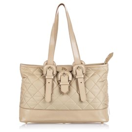 Burberry-Burberry Brown Quilted Nylon Tote-Brown,Beige