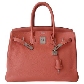 Hermès-HERMES BIRKIN FLAMINGO BAG-Pink,Orange,Coral