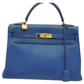 Hermès-HERMES SAC KELLY 32-Bleu