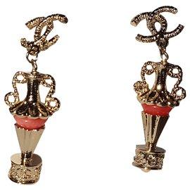Chanel-Earrings-Golden,Coral