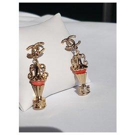 Chanel-Boucles d'oreilles-Doré,Corail