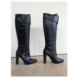 Hermès-Bottes en cuir Hermès-Noir
