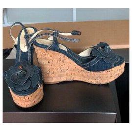 Chanel-Mules compensées-Bleu