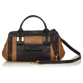 Chloé-Chloe Brown Leather Alice-Brown,Black